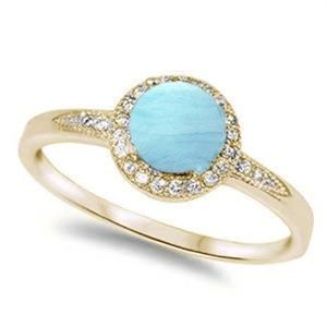 yellow gold plated halo natural larimar and cubic